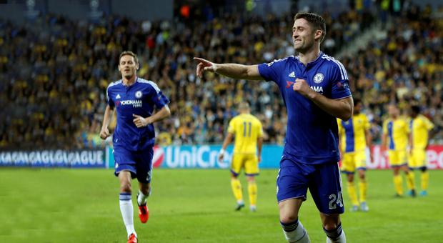 A happy Gary Cahill after opening up the scoring for Chelsea in Tel Aviv