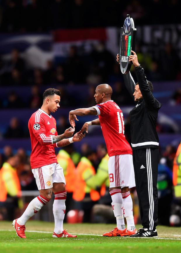 A dejected looking Memphis Depay is replaced by Ashley Young on a poor night at Old Trafford