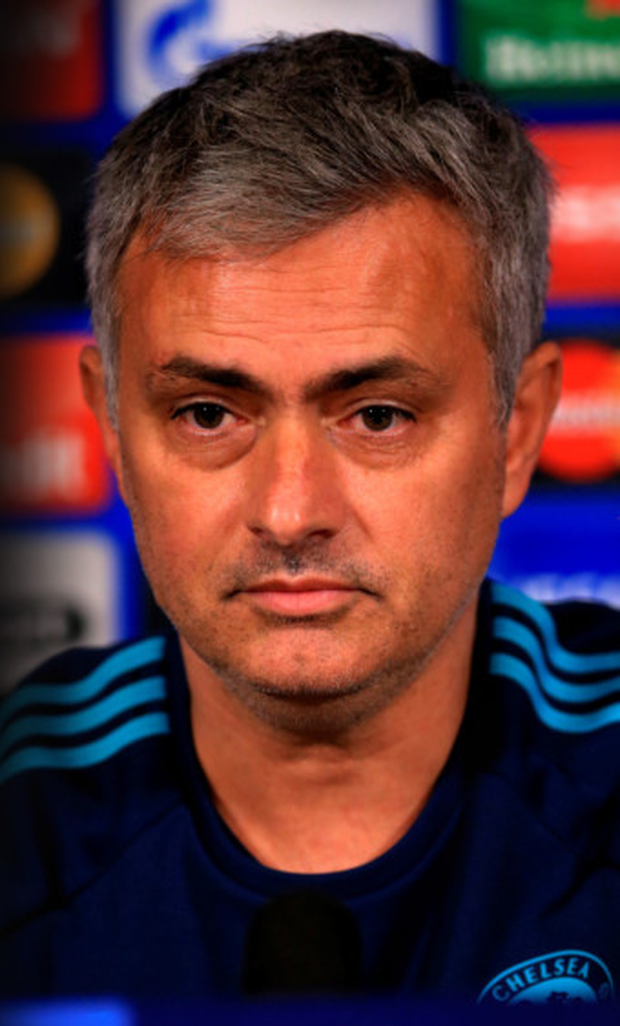 Chelsea manager Jose Mourinho is pictured during a press conference at Cobham Training Ground ahead of tonight's Champions League clash with Porto.