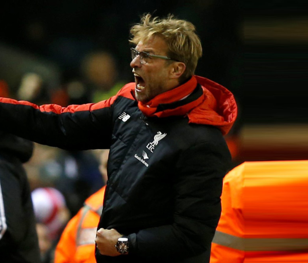 Liverpool manager Jurgen Klopp celebrates his team's equaliser against West Brom last Sunday