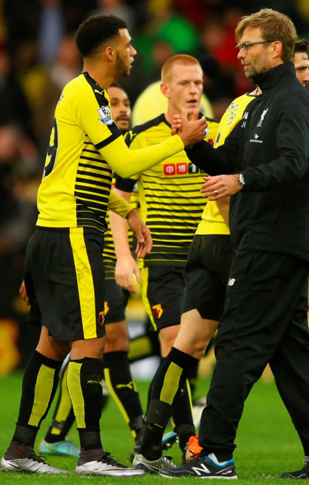 Jurgen Klopp manager of Liverpool shakes hands with Etienne Capoue of Watford after the Barclays Premier League match between Watford and Liverpool at Vicarage Road on December 20, 2015 in Watford, England Photo:Getty