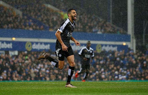 Riyad Mahrez celebrates scoring the second goal for Leicester from the penalty spot in the win over Everton on Saturday Photo:Reuters