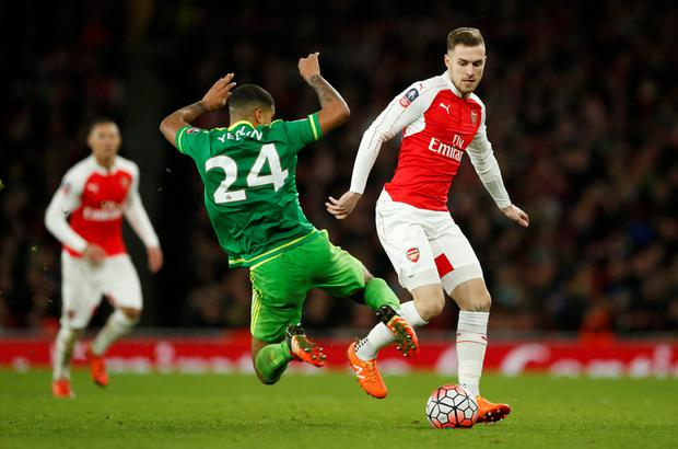 Arsenal's Aaron Ramsey in action against Sunderland's DeAndre Yedlin during their FA Cup third round match at the Emirates last Saturday.