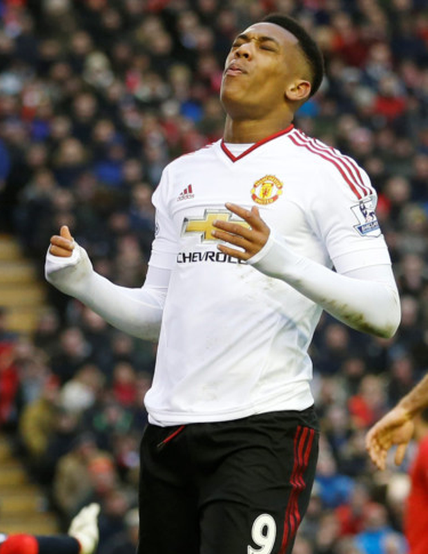 Anthony Martial reacts to a missed chance in the Premier League win over Liverpool at Anfield last Sunday