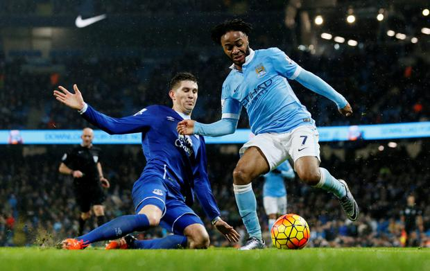 Raheem Sterling (r) in action Photo: Reuters