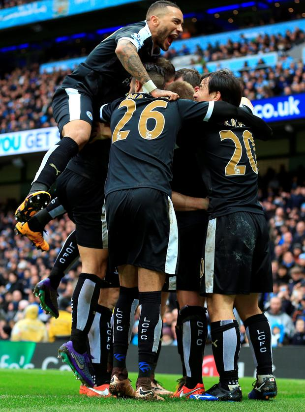 Leicester players celebrate. Photo: PA