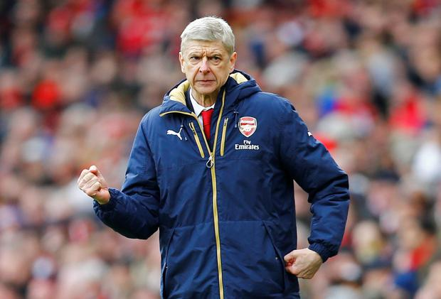 Arsenal manager Arsene Wenger celebrates after yesterday's win over Leicester CityPhoto: Reuters