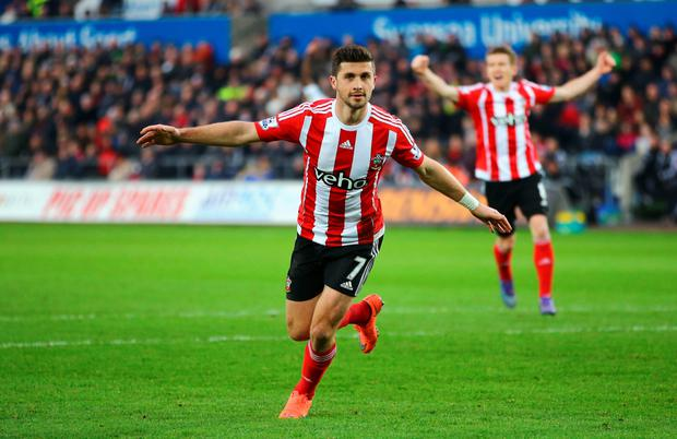 Southampton's Shane Long and (l-r) Norwich's Robbie Brady and Wes Hoolahan celebrate their goals last Saturday Photo: Getty