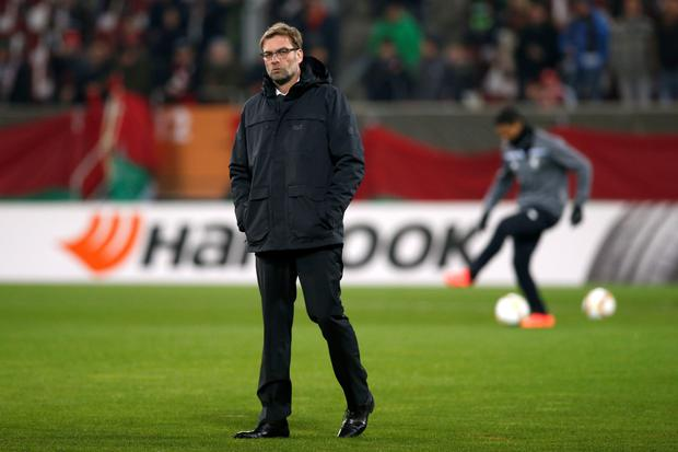 Liverpool manager Jurgen Klopp says he won't let Sunday week's League Cup final against Manchester City distract him from next Thursday's Europa League clash with Augsburg. Photo: Reuters