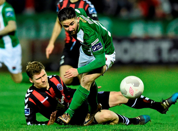 Sean Maguire Cork City, in action against Derek Prendergast, Bohemians Photo: Sportsfile