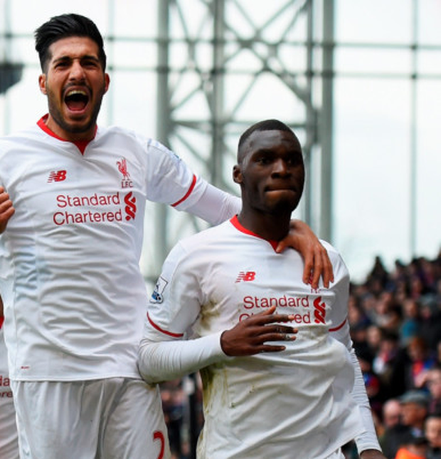 Christian Benteke (r) celebrates with team-mates after scoring the second and winning goal for Liverpool in the Premier League clash with Crystal Palace at Selhurst Park yesterday Photo: Getty