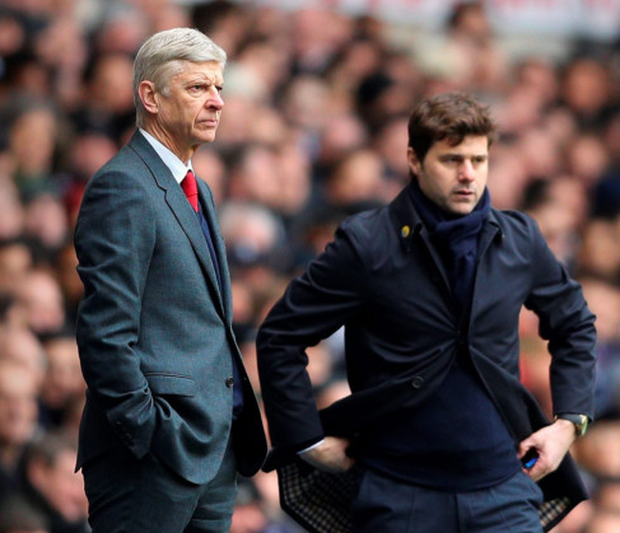 Arsenal manager Arsene Wenger and Spurs boss Mauricio Pochettino, pictured last Saturday