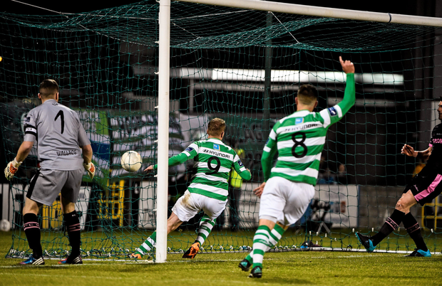 Shamrock Rovers' Danny North (l) scores his side's first goal against Wexford Youths at Tallaght Stadium (SPORTSFILE)