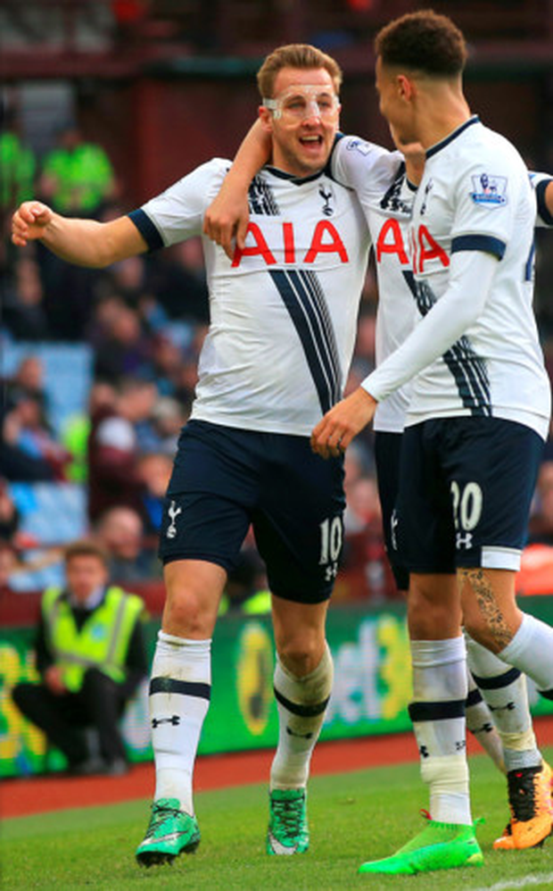 Harry Kane celebrates scoring Tottenham Hotspur's second goal during the Premier League win at Aston Villa Photo: PA