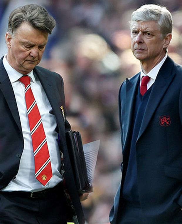 (l-r) Manchester United manager Louis van Gaal and Arsenal boss Arsene Wenger