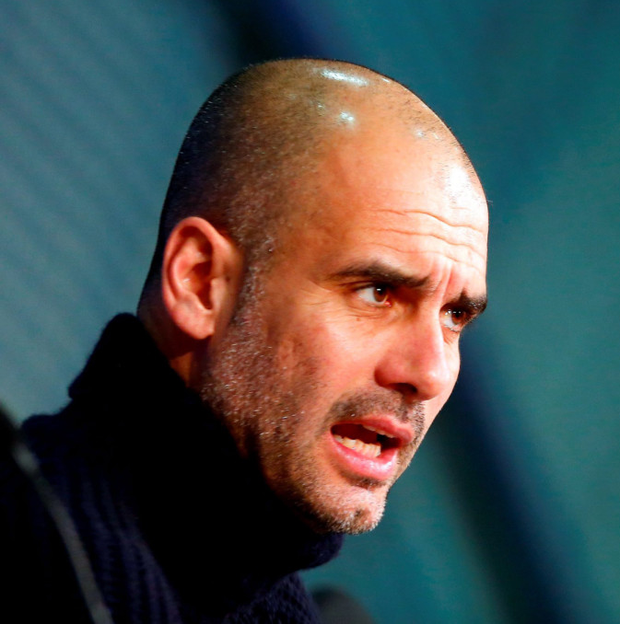 'Guardiola (p) has somehow kept these players playing for him even though they know he will be gone in a few months' Photo: Reuters