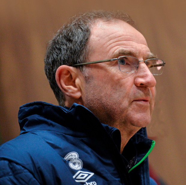 Martin O'Neill speaks to the media in Abbotstown yesterday