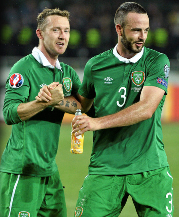 Marc Wilson, pictured here (right) with Aiden McGeady after the Euro 2016 qualifying win over Georgia. The Stoke man remains hopeful of making Martin O'Neill's squad for the finals in France this June. Photo: Sportsfile