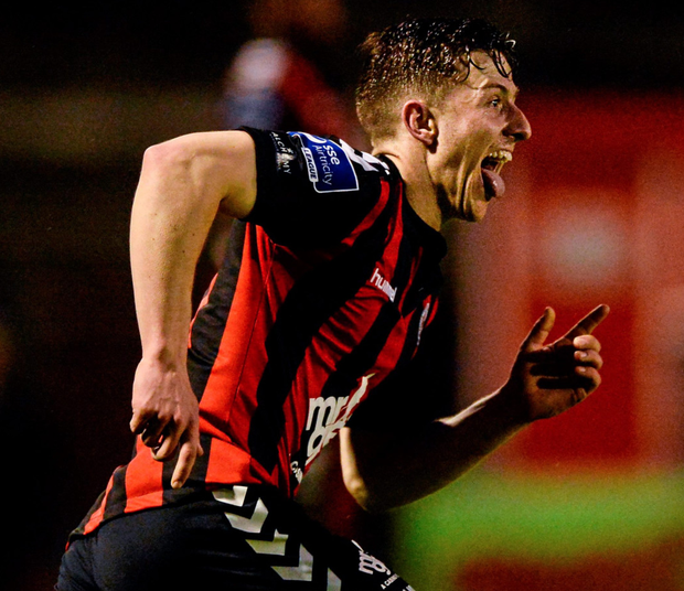 Bohs' Keith Buckley celebrates his goal