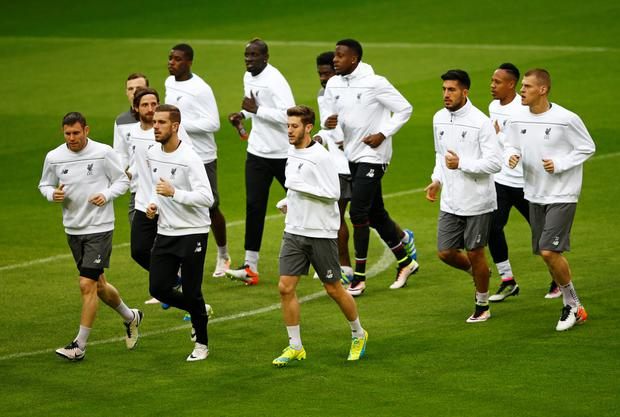 Liverpool players train at Signal Iduna Park, Dortmund, ahead of tonight's Europa League quarter-final first leg clash with Borussia Dortmund