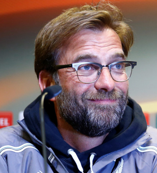 Liverpool manager Jurgen Klopp is pictured during a press conference ahead of tonight's Europa League quarter-final first leg clash with his former club Borussia Dortmund.
