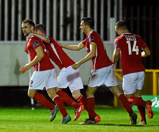St Patrick's Athletic's Christy Fagan (l) celebrates after scoring his side's first goal with teammates Ian Bermingham, Mark Timlin and Graham Kelly during their SSE Airtricity League Premier Division match against Sligo Rovers at Richmond Park last night. Photo: David Maher/Sportsfile