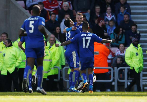 Jamie Vardy celebrates. Photo: Reuters