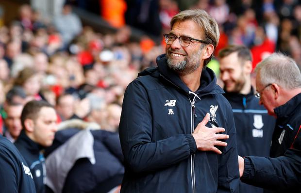 Liverpool manager Jurgen Klopp gestures during the Premier League win over Stoke City yesterday. Photo: Reuters