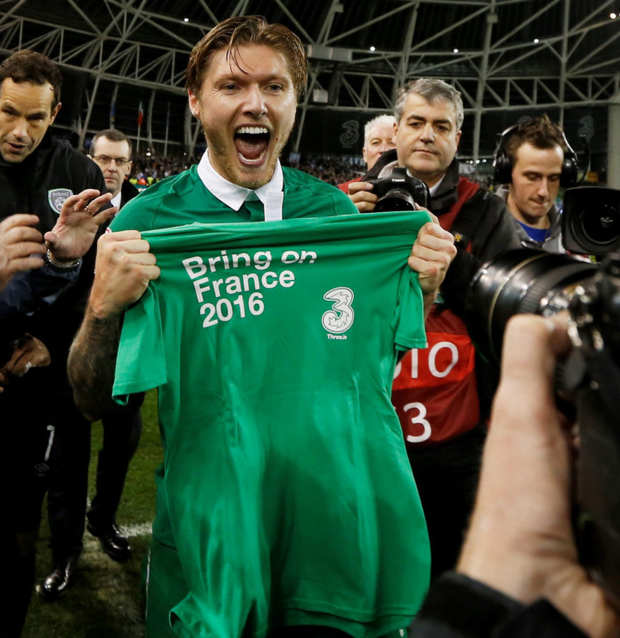 Ireland midfielder Jeff Hendrick celebrates qualification for Euro 2016 after the play-off win over Bosnia-Herzegovina last November. Photo: Reuters