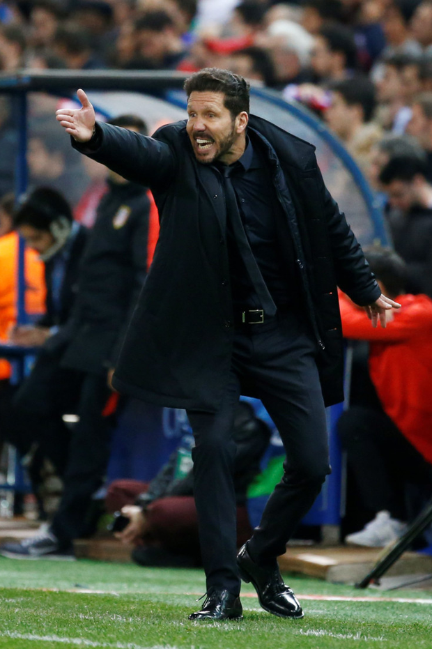 Atletico Madrid coach Diego Simeone is pictured during the Champions League quarter-final win over Barcelona on Wednesday Photo: Reuters