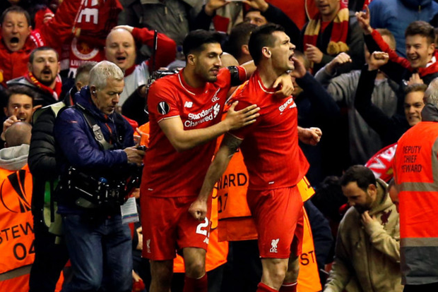 Dejan Lovren celebrates scoring the winning goal. Photo: PA