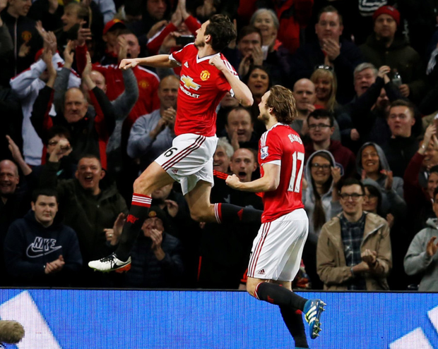 Manchester United's Matteo Darmian celebrates scoring their second goal in the win over Crystal Palace.