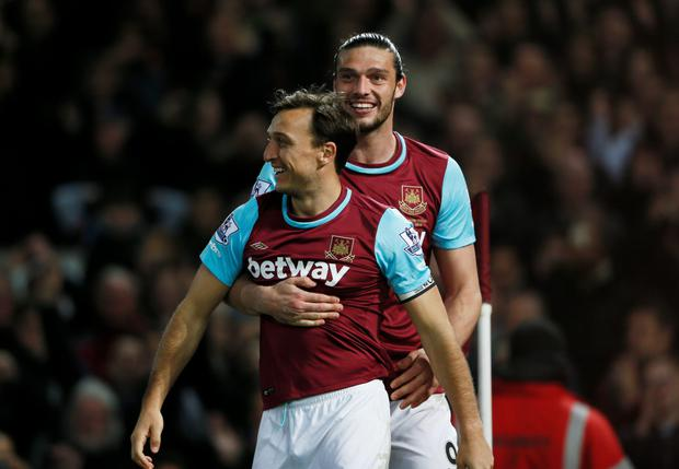 Andy Carroll and Mark Noble