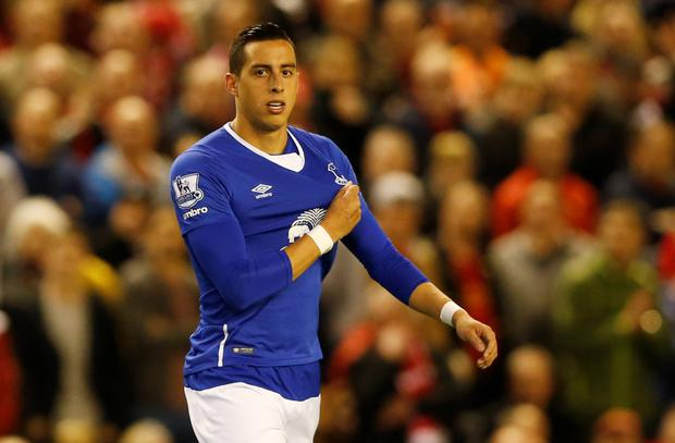 Everton's Ramiro Funes Mori after being sent off Photo: Reuters