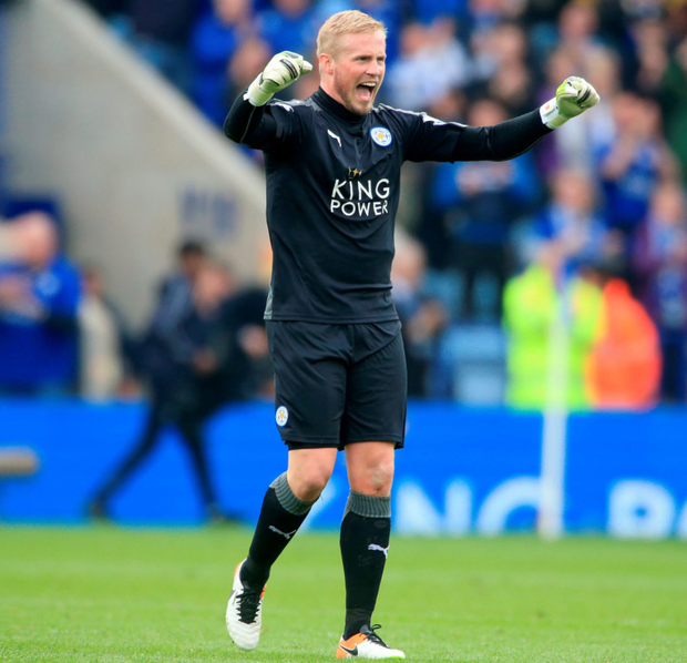 Kasper Schmeichel in action for Leicester City