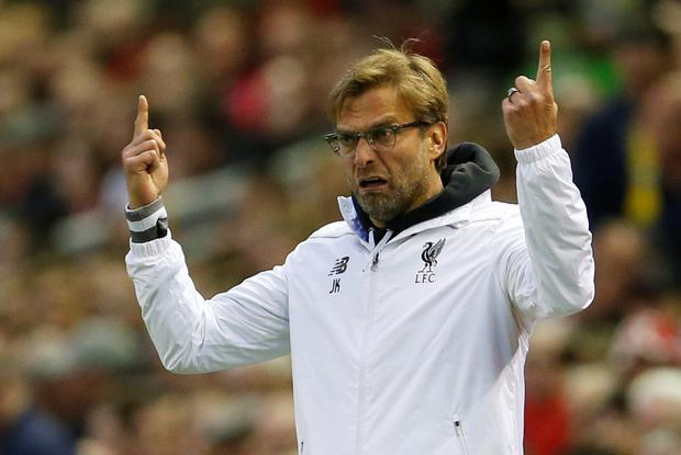 Liverpool manager Jurgen Klopp gestures during the game Photo: Reuters
