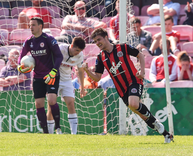 Jake Kelly turns away in celebration after scoring the first of his two goals for Bohemians in their 5-1 defeat of St Patrick's Athletic at Dalymount Park yesterday. Photo: Sportsfile