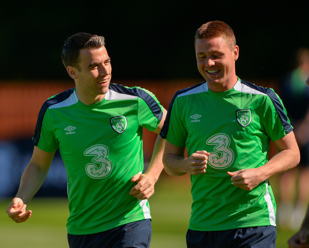 Seamus Coleman and James McCarthy of Republic of Ireland during squad training. Photo: Sportsfile