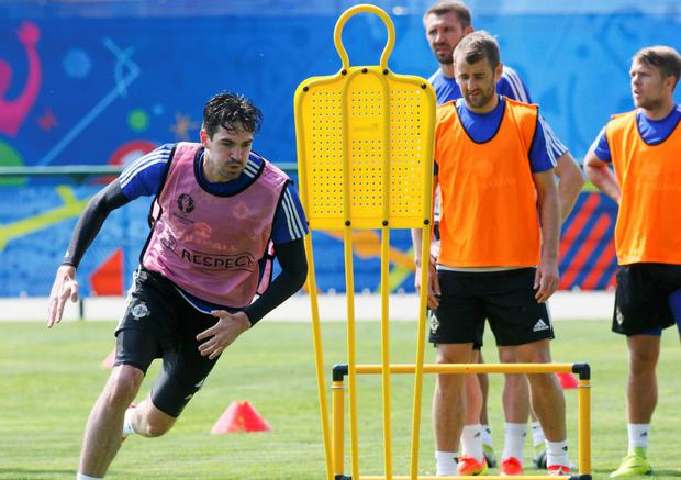 Kyle Lafferty during Northern Ireland team training