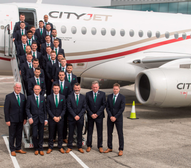The Ireland squad and management team are pictured before their flight to Paris ahead of the European Championships. Photo: David Maher/Sportsfile