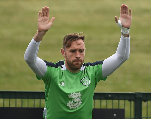 Richard Keogh at Ireland squad training. Photo: