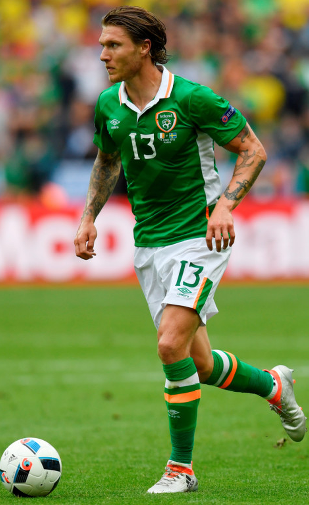 Jeff Hendrick, pictured here in action against Sweden last Monday, insists Ireland won't be over-awed by Belgium in Saturday's Group E clash in Bordeaux Picture: Getty