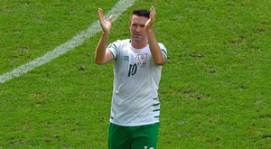Robbie Keane applauds the Irish fans after the Euro 2016 Group E defeat by Belgium. Photo: Sportsfile