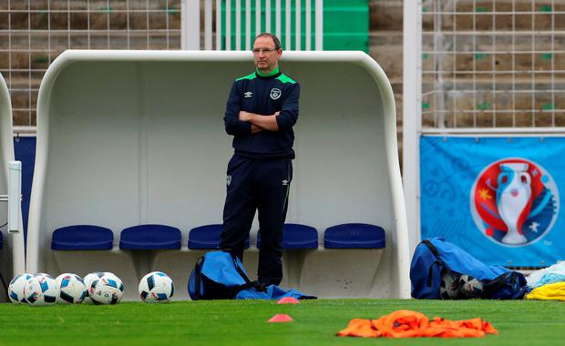 Ireland manager Martin O'Neill during the training session at Stade de Montbauron, Versailles. Photo: PA Wire
