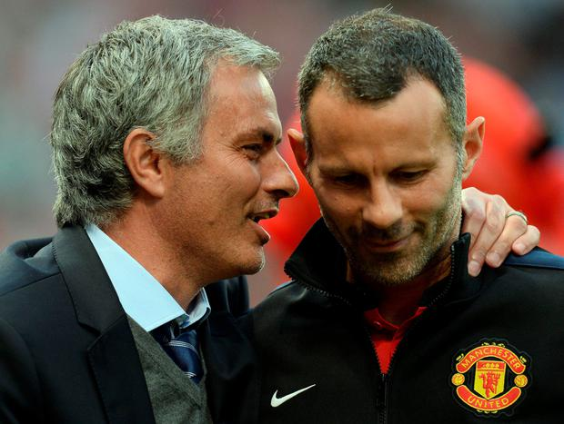 Jose Mourinho and Ryan Giggs. Photo: Andrew Yates/Getty Images