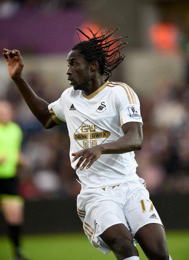 Eder in action during his ill-fated time at Swansea last season.
