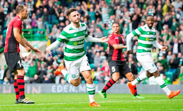 Celtic Patrick Roberts celebrates scoring his side's third goal of the Champions League second qualifying round win over Lincoln Red Imps. Pic: PA