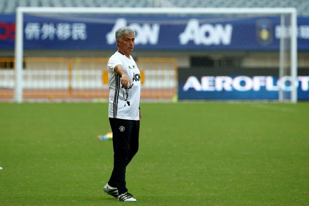 Manchester United manager Jose Mourinho, pictured in training in Shanghai yesterday. Pic: Reuters