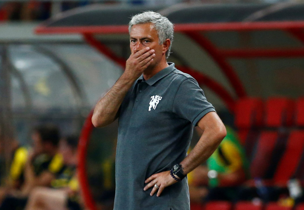 Jose Mourinho can't hide his horror as his side fell to a 4-1 defeat. Photo: Reuters