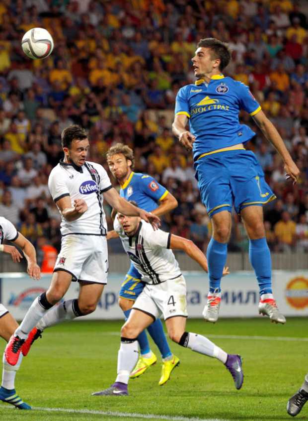 Patrick Barrett, Andy Boyle, Robert Benson, and Dane Massey of Dundalk in action against Aleksandr Karnitski of BATE Borisov during the Champions League third qualifying round first leg match at the Borisov Arena. Photo: Sportsfile